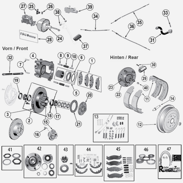 Jeep CJ Bremse Trommel Scheibe Kloetze Belaege Bremsbacken Handbremse Bremsscheibe Handbremsbacken Bremskloetze Federset Radbremszylinder Bremszange Bremszylinder Bremssattel 32