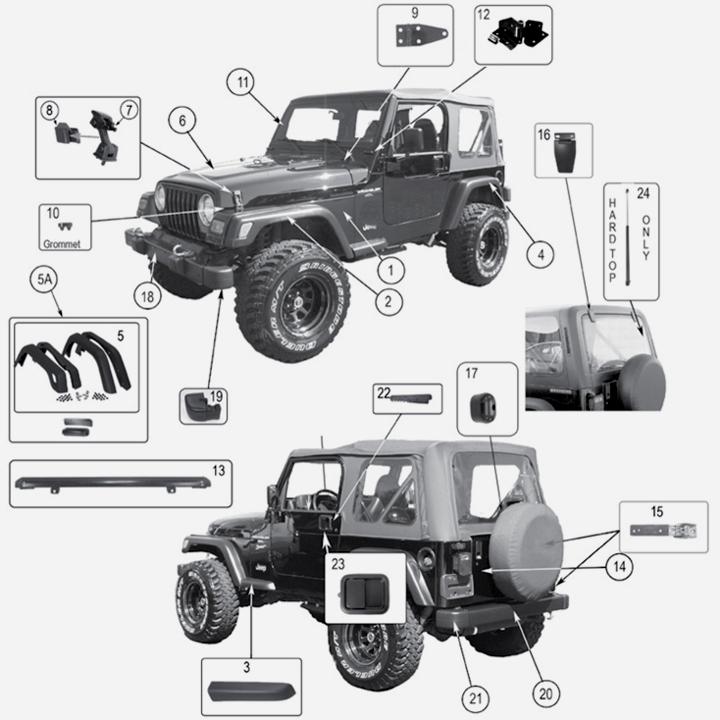 jeep wrangler tj karosserie exterieur. Black Bedroom Furniture Sets. Home Design Ideas