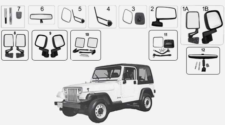 jeep wrangler yj spiegel und antennen. Black Bedroom Furniture Sets. Home Design Ideas