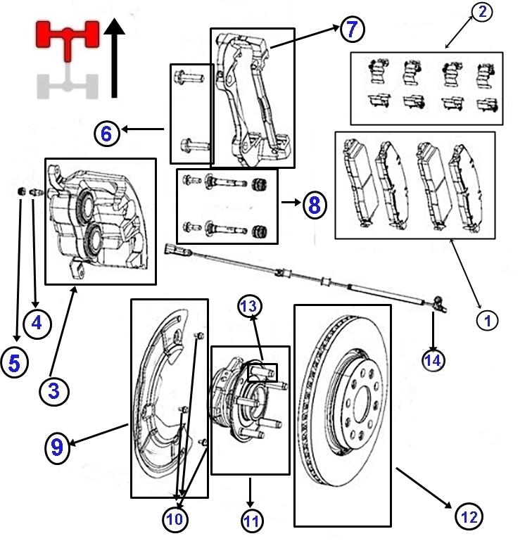Bremsteile vorne für Jeep Wrangler JL