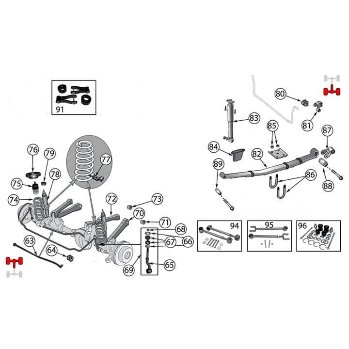federung fahrwerk f r jeep cherokee xj. Black Bedroom Furniture Sets. Home Design Ideas