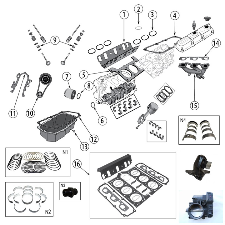 3,8 L 6 Cyl. V6 engine parts for Jeep Wrangler JK