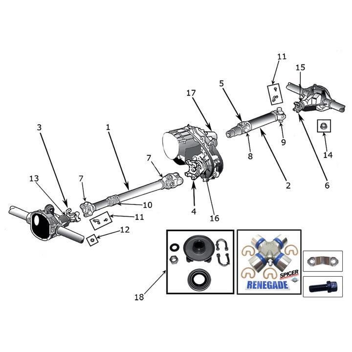Schiebestück Verteilergetriebe hinten Jeep Wrangler YJ 87-95