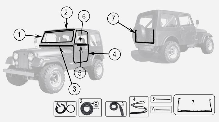 Body parts Weatherstrip Seals for Jeep CJ