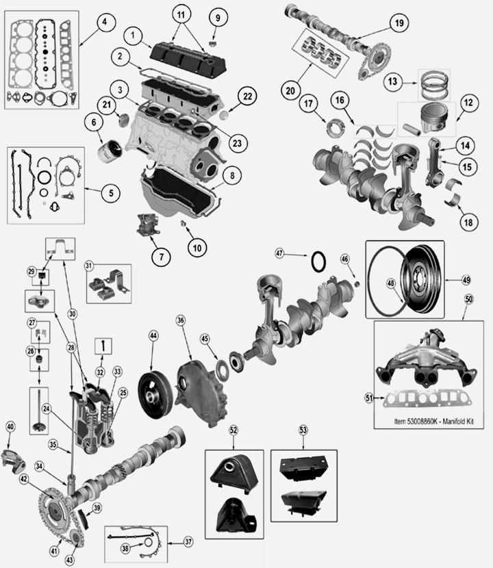 25 L 4 Zyl Engine Parts For Jeep Comanche Mj
