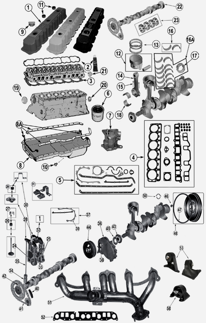 4,0 l 6 cyl. engine parts for jeep grand cherokee wj / wg 04 jeep grand cherokee engine diagram #9