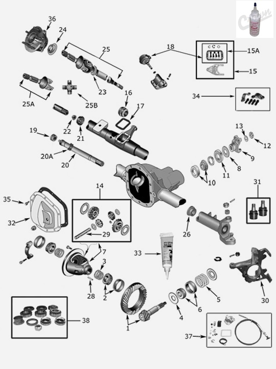 Jeep Wrangler YJ Front Ubolt Kit for Dana 30 Axles With Mounting Hardware