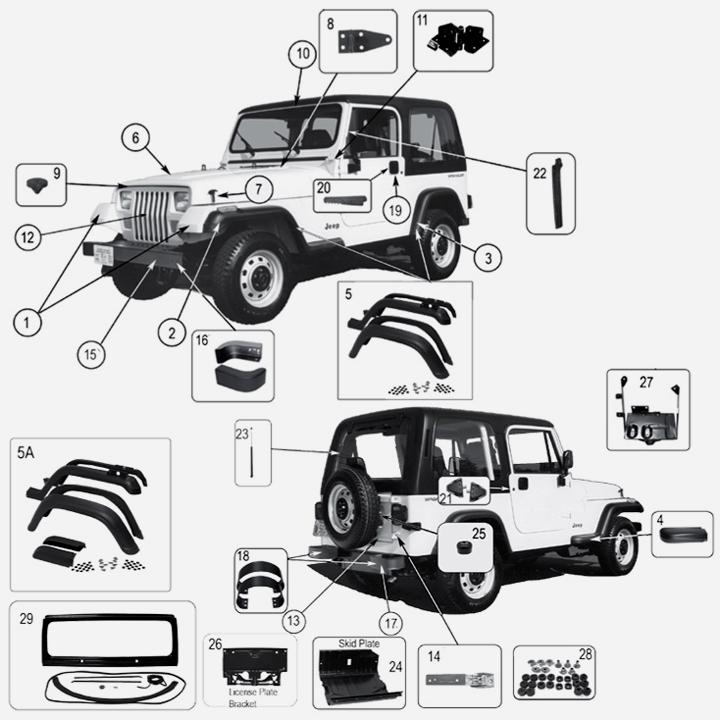 karosserie exterieur f r jeep wrangler yj. Black Bedroom Furniture Sets. Home Design Ideas