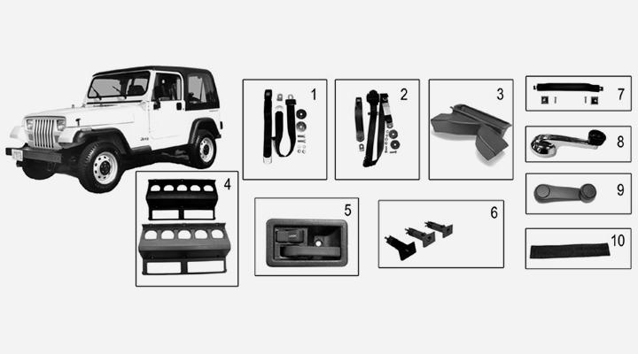 karosserie interieur f r jeep wrangler yj. Black Bedroom Furniture Sets. Home Design Ideas