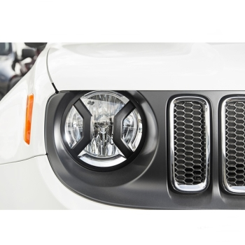 Jeep Renegade BU Black textured Headlight Euro Guards Set Rugged Ridge 15-17