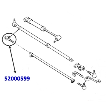 Jeep Wrangler YJ Steering Tie Rod End on Trag Link to Tie Rod LHD 87-90