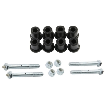 Jeep CJ black Polyurethane rear Leaf Spring Shackle Bushing Set with greaseable Bolts Daystar 76-86