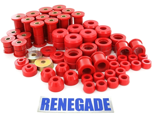 Jeep Wrangler YJ Body & Suspension Bushing Complete Kit red Polyurethane 87-95