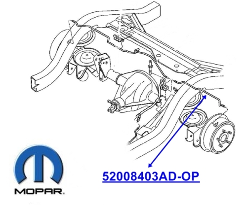Jeep Wrangler TJ Brake Line rear left Mopar with or without ABS 96-06